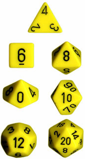 Chessex: Polyhedral Dice Set - Opaque Yellow w/Black (7)