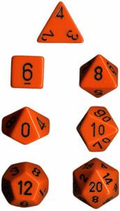 Chessex: Polyhedral Dice Set - Opaque Orange w/Black (7)
