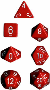 Chessex: Polyhedral Dice Set - Opaque Red w/White (7)