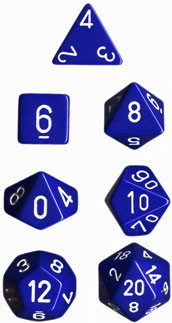 Chessex: Polyhedral Dice Set - Opaque Blue w/White (7)