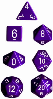 Chessex: Polyhedral Dice Set - Opaque Purple w/White (7)