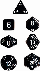 Chessex: Polyhedral Dice Set - Opaque Black w/White (7)