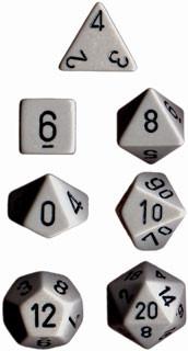 Chessex: Polyhedral Dice Set - Opaque Dark Grey w/ Black (7)