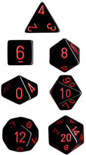 Chessex: Polyhedral Dice Set - Opaque Black w/ Red (7)