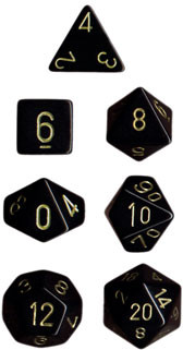 Chessex: Polyhedral Dice Set - Opaque Black w/Gold (7)
