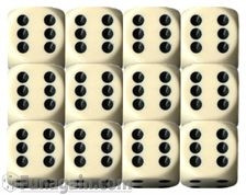 Chessex: 16mm Dice Block - Opaque Ivory/Black (12)