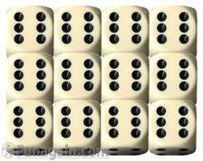 Chessex 16mm d6 Set: Opaque Ivory/Black (12)