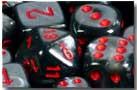 Chessex: 16mm Dice Block - Velvet Black w/Red (12)