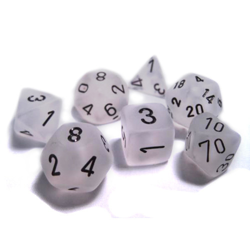 Chessex: Polyhedral Dice Set - Frosted Clear w/Black (7)