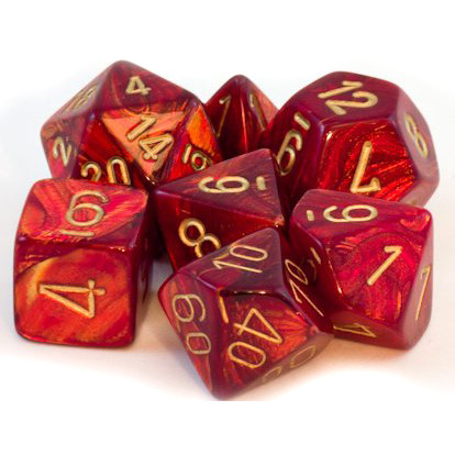 Chessex: Polyhedral Dice Set - Scarab Scarlet w/Gold (7)