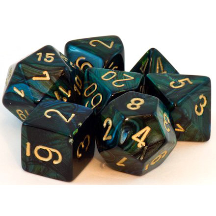 Chessex: Polyhedral Dice Set - Scarab Jade w/Gold (7)