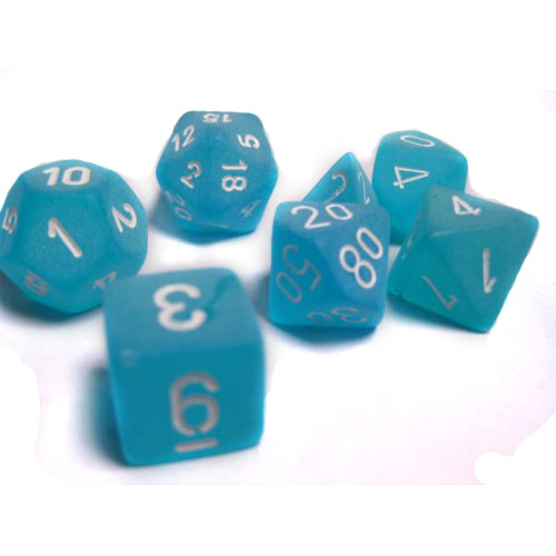 Chessex: Polyhedral Dice Set - Frosted Caribbean Blue w/White (7)