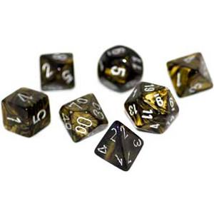 Chessex: Polyhedral Dice Set - Leaf Black Gold w/Silver (7)