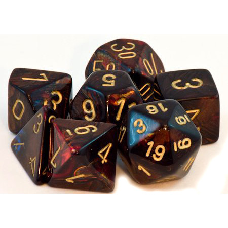 Chessex: Polyhedral Dice Set - Scarab Blue Blood w/Gold (7)