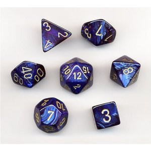 Chessex: Polyhedral Dice Set - Scarab Royal Blue w/Gold (7)