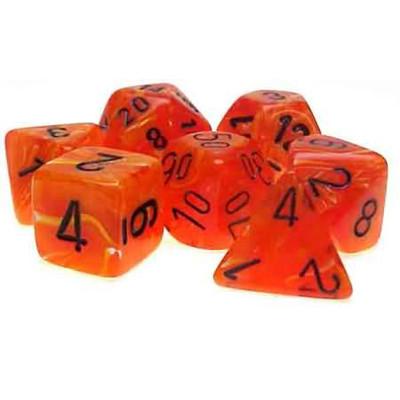Chessex: Polyhedral Dice Set - Vortex Orange w/Black (7)