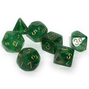 Chessex: Polyhedral Dice Set - Vortex Green w/Gold (7)