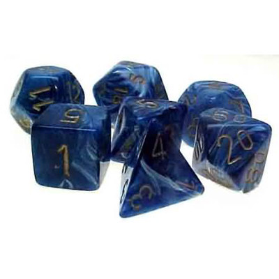 Chessex: Polyhedral Dice Set - Vortex Blue w/Gold (7)