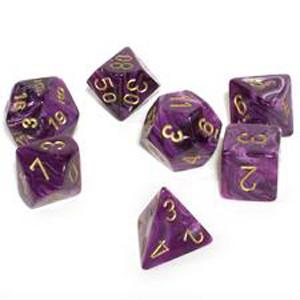 Chessex: Polyhedral Dice Set - Vortex Purple w/Gold (7)