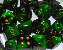 Chessex: Polyhedral Dice Set - Gemini Teal-White w/Black (7)