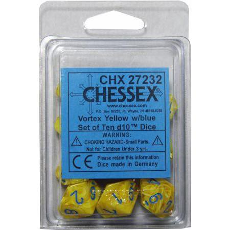 Chessex: d10 Dice Set - Vortex Yellow w/Blue (10)