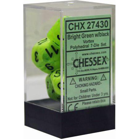 Chessex: Polyhedral Dice Set - Vortex Bright Green w/Black (7)