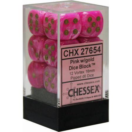 Chessex: 16mm Dice Block - Vortex Pink w/Gold (12)