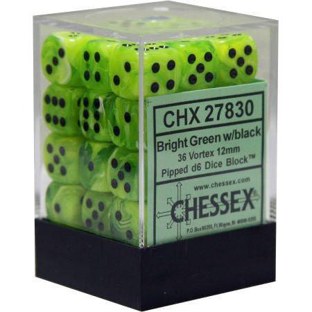 Chessex: 12mm Dice Block - Vortex Bright Green w/Black (36)