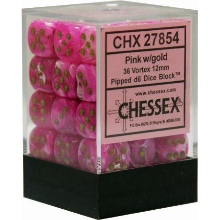Chessex: 12mm Dice Block - Vortex Pink w/Gold (36)