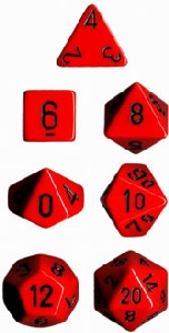 Chessex: Polyhedral Dice Set - Opaque Red w/Black (7)