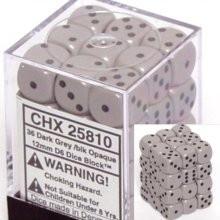 Chessex: 12mm Dice Block - Opaque Dark Grey w/Black (36)