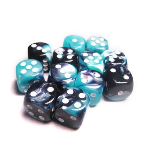 Chessex: 16mm Dice Block - Gemini Black-Shell w/White (12)