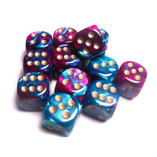 Chessex: 16mm Dice Block - Gemini Purple-Teal w/Gold (12)