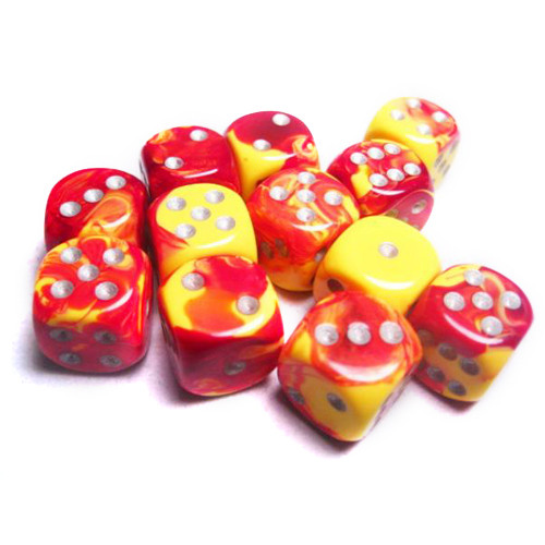 Chessex 16mm d6 Set: Gemini Red-Yellow w/Silver (12)