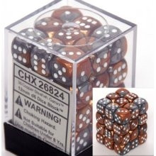 Chessex: 12mm Dice Block - Gemini Steel-Copper w/White (36)