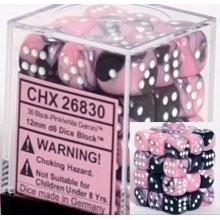 Chessex: 12mm Dice Block - Gemini Pink-Black w/White (36)