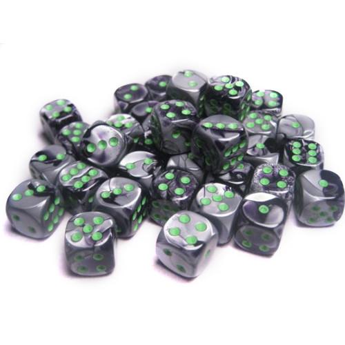 Chessex 12mm d6 Set: Gemini Black-Grey w/Green (36)