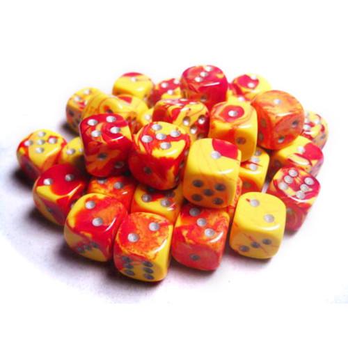 Chessex: 12mm Dice Block - Gemini Red-Yellow w/Silver (36)