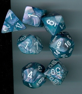 Chessex: Polyhedral Dice Set - Lustrous Slate w/White (7)