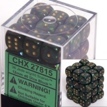 Chessex: 12mm Dice Block - Scarab Jade w/Gold (36)