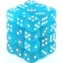 Chessex: 12mm Dice Block - Frosted Caribbean Blue w/White (36)