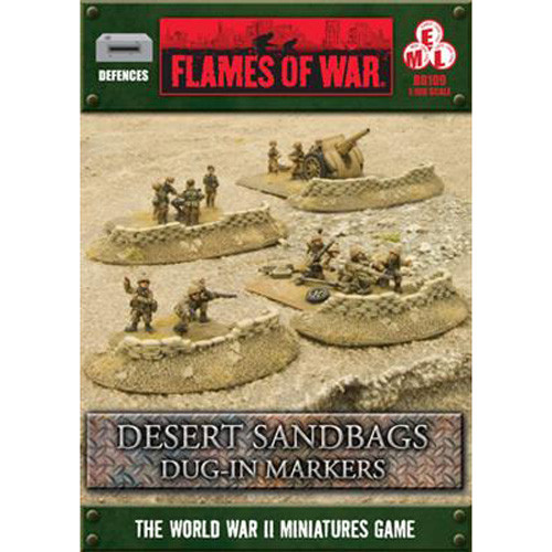 Flames of War: Battlefield in a Box - Desert Sandbags Dug In-Markers