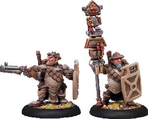 Warmachine: Mercenaries - High Shield Gun Corps Off & Standard Bearer