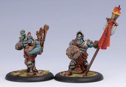 Hordes: Trollbloods - Kriel Warrior Stand Bear & Piper Unit Attachment