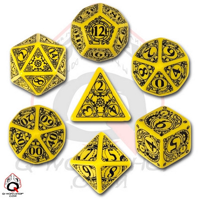 Q-Workshop Yellow and Black Steampunk Dice Set (7)