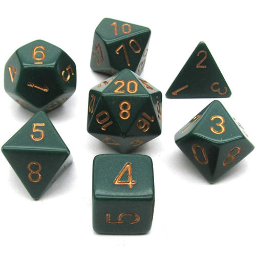 Chessex: Polyhedral Dice Set - Opaque Dusty Green w/ Copper (7)