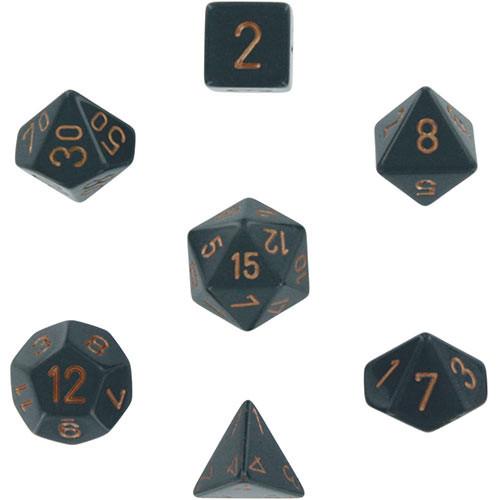 Chessex: Polyhedral Dice Set - Opaque Dark Grey w/Copper (7)