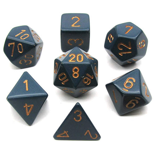 Chessex Dice Set: Opaque Dusty Blue w/Copper (7)