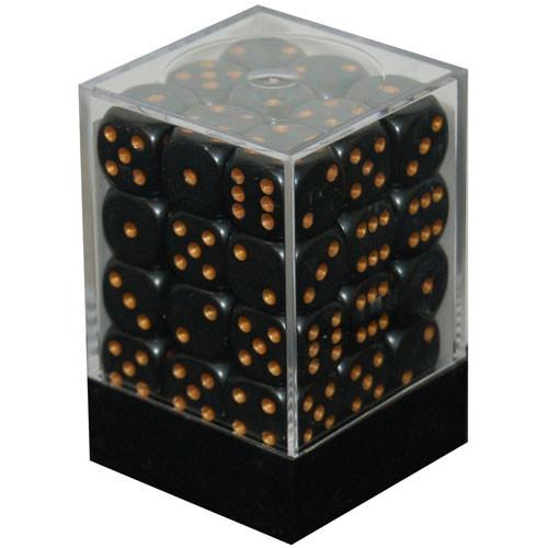 Chessex: 12mm Dice Block - Opaque Black w/Gold (36)