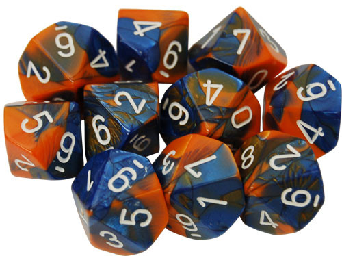 Chessex: d10 Dice Set - Gemini Blue-Orange w/White (10)